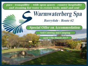 Barrydale Accommodation Special at Warmwaterberg Spa