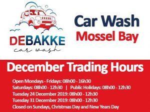 De Bakke Car Wash December Trading Hours